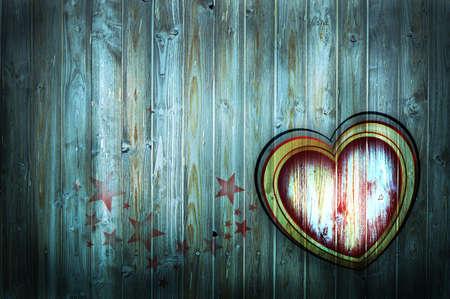 Herz auf Holzwand  Stock Photo
