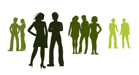 Silhouetten - Gruppen von Menschen Standard-Bild