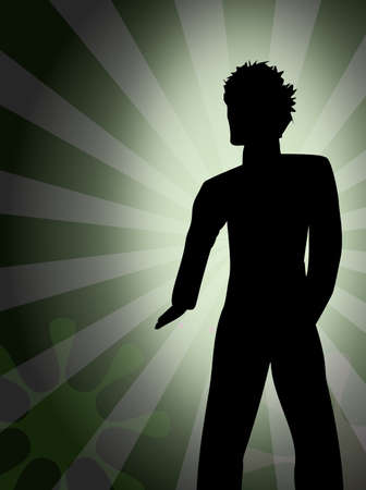 geste: Silhouette - Junger Mann - Party - Disco Stock Photo