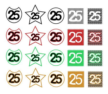 Kollektion 25 - Jubiläum, Geburtstag Standard-Bild