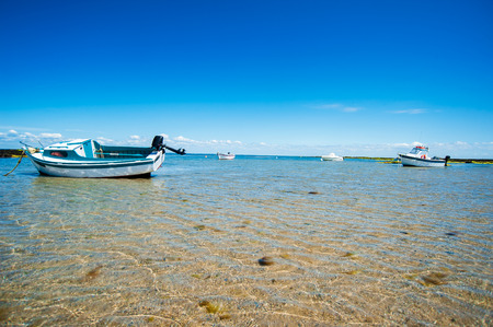 Stranded boats on beach surrounded with water in summertime