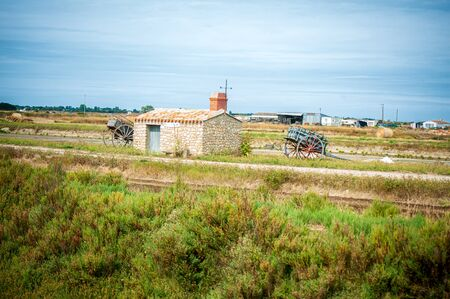 place to shelf salt with two old cart on the isle of noirmoutier in France