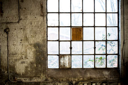 A big window in abandoned building