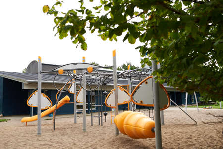 Empty fun and orange kid playground
