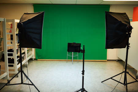 Green screen and lights at a school photo shoot