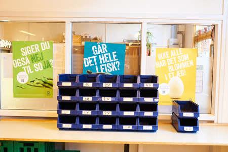 蓝色组织者设备在一所学校为工艺品