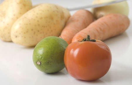 fruit and veg:  fruit and veg with the focus on the fruit  Stock Photo