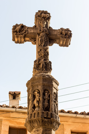 délivrance: close up of old stone  religious christian cross with a lot of ornaments