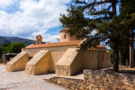 Back of old historic beige christian byzantine orthodox monastery church building Stock Photo