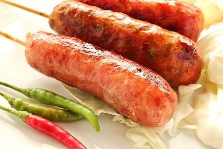 frankfurters: Thai sausage Stock Photo
