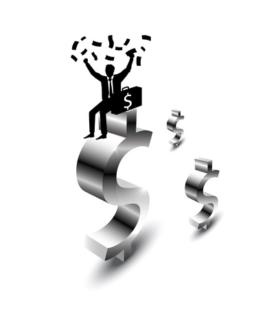 businessman happy with money Stock Vector - 12674521