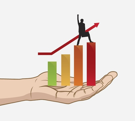 growth arrow: Success in hand