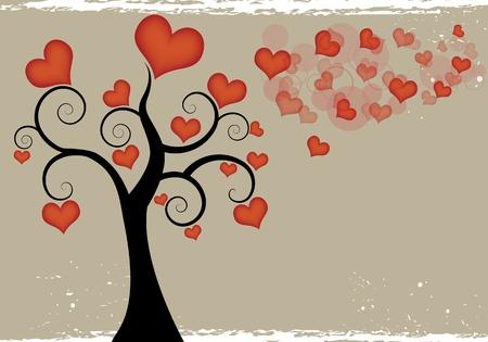 Heart tree background  Illustration