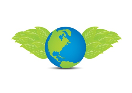 earth with leaf wing Stock Vector - 12872794