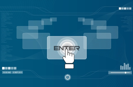 hightech: hand icon pushing enter button
