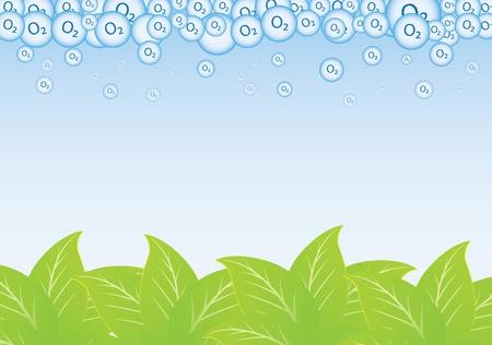 oxigeno: hoja y oxígeno flotando a la atmósfera