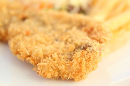 fried breaded fish steak emphasize texture of fried breaded photo