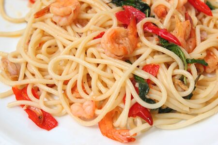 spaghetti seafood with basil photo