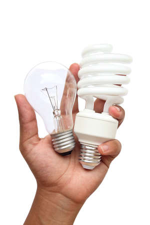 fluorescent light: hand holding lamp two type   Incandescent light and Fluorescent light  This image contains clipping path