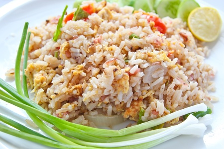 Fermented Pork Fried Rice, Thai food and Thais call   Khao Pad Naem   photo