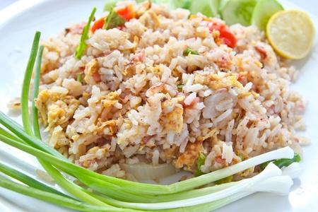 fermenting: Fermented Pork Fried Rice, Thai food and Thais call   Khao Pad Naem   Stock Photo