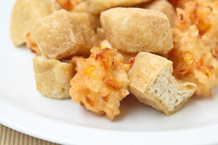 fritter: Fried tofu and corn fritter