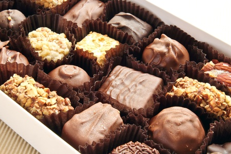 chocolate candies in the box