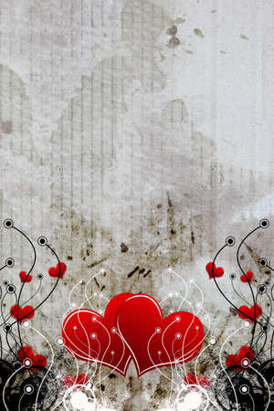 heart with grunge floral background