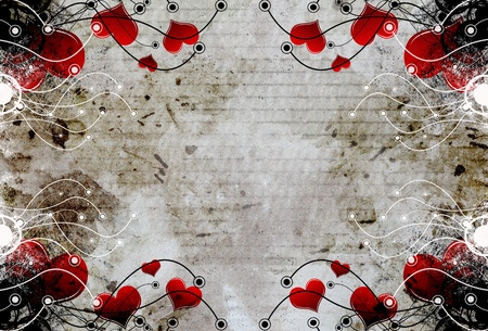 Grungy heart frame floral  photo