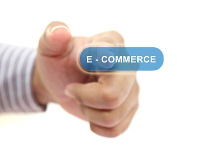 hand pushing e-commerce button photo