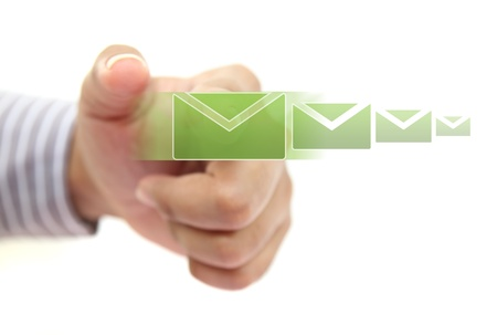 email contact: hand pushing email button  Stock Photo