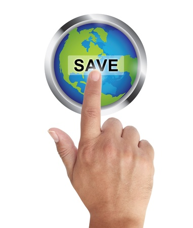 save the earth: Hand pushing save earth button