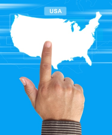 hand Pushing usa map photo