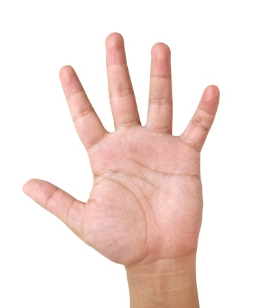five fingers: hand lift with word   I have question  Stock Photo