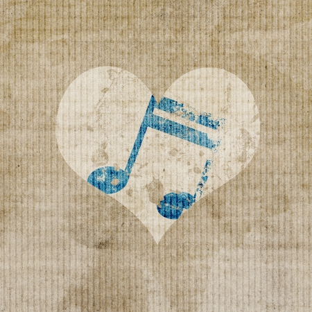 favorite: antique music in heart logo background  Stock Photo
