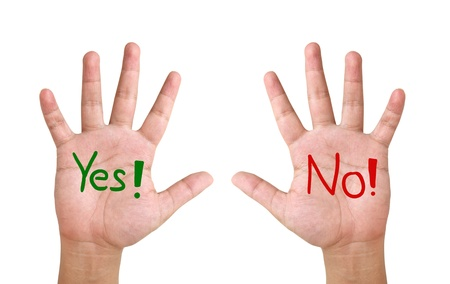 show hand up with word    yes   and   no Stock Photo - 13081986