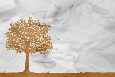 recycle tree: tree on white wrinkle paper