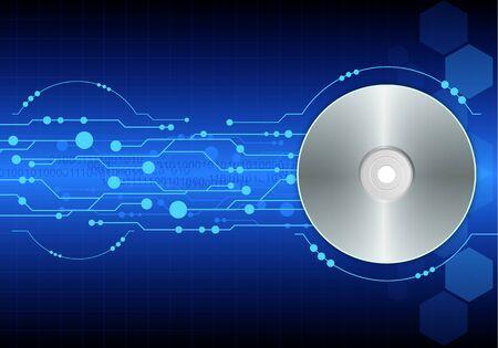 cd-dvd on blue digital background Stock Vector - 13177359