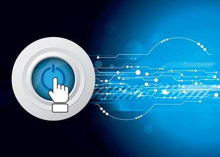 telecoms: power button with technology background Illustration