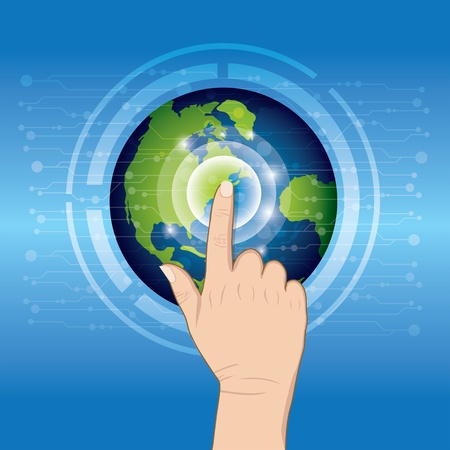 touch screen hand: World technology with hand pushing Illustration