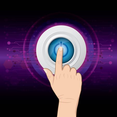 hand pushing power button on digital background Vector