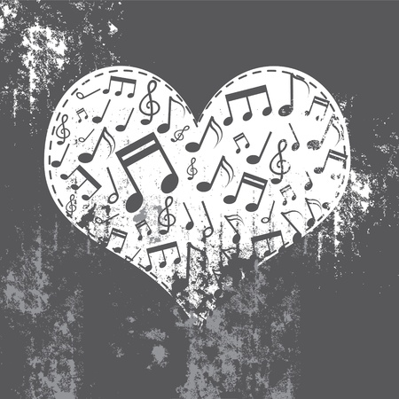 popular music concert: heart grunge with music inside Illustration