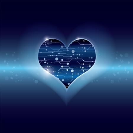 technology inside heart Stock Vector - 13177422