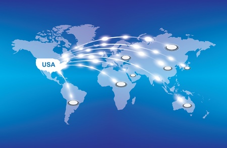 USA export around the world, economy concept Illustration