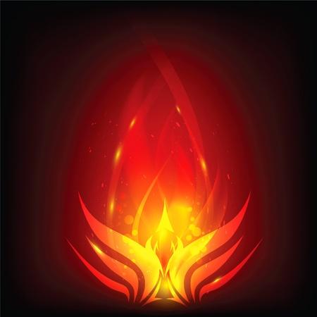 ave fenix: Phoenix en el fuego Vectores