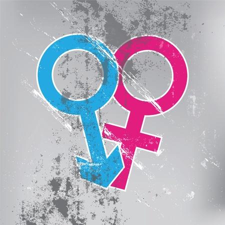 seks: symbol seksu na ścianie grunge
