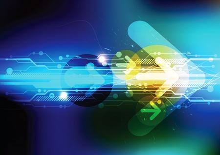 矢印と将来技術  イラスト・ベクター素材