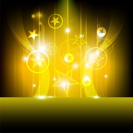 the miracle: shiny star with yellow background Illustration