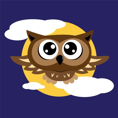 Owl flying Vector