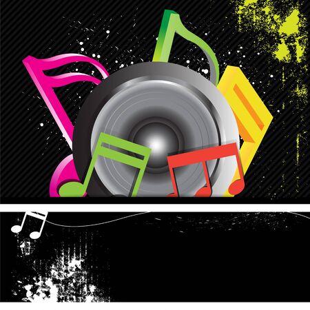 music banner: muziek banner grunge stijl Stock Illustratie